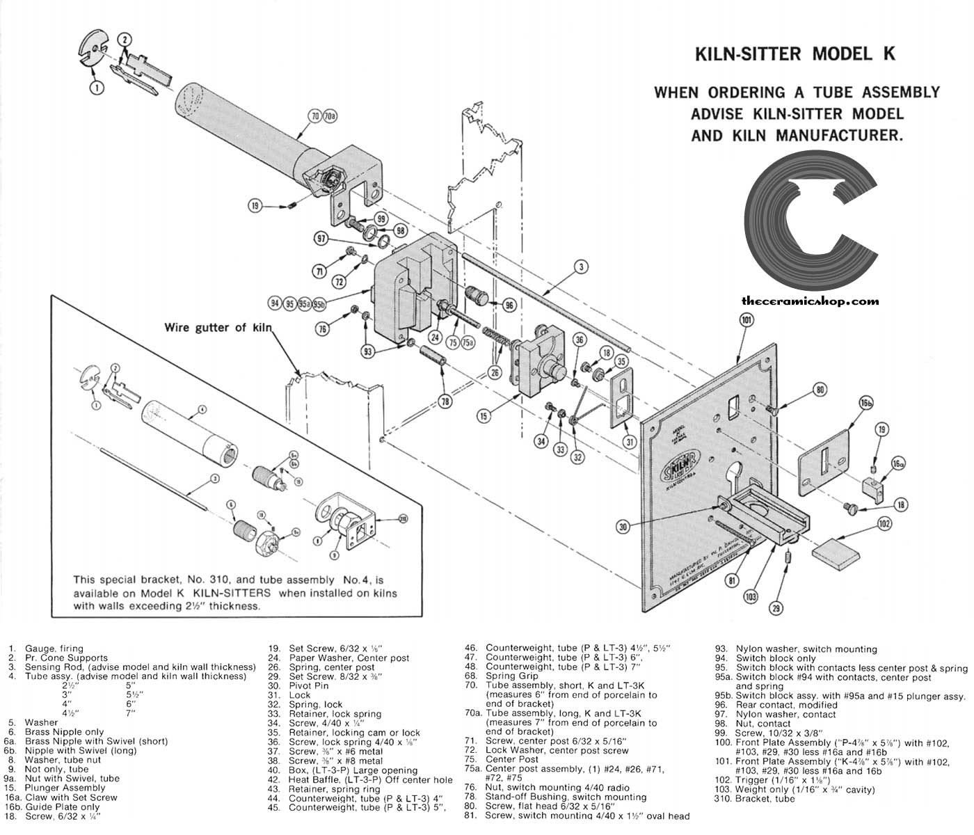 Kiln Sitter Parts The Ceramic Shop Brent Mason Wiring Diagram Part Replacement List